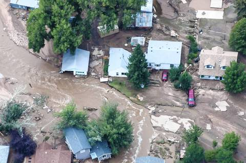 An aerial photo of flood-affected area along the Big Thompson River in northern Colorado.