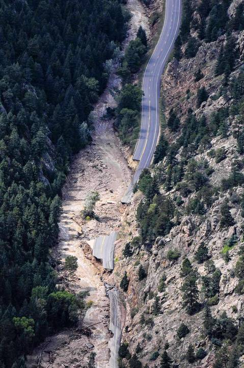 A washed-out portion of the road to Jamestown, Colo.