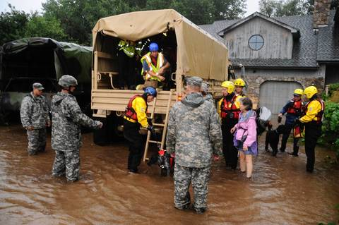 This US Army National Guard photo obtained Sept. 13, 2013, shows Colorado National Guardsmen as they respond to floods in Boulder County, Colorado, on Sept. 12, 2013.