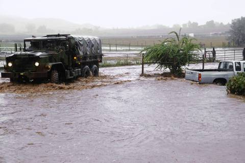 Colorado National Guardsmen respond to floods in Boulder County, Colorado, in this handout photo provided by the Army National Guard and taken on September 12, 2013.