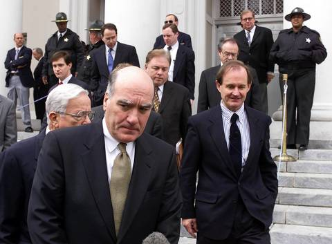 Democratic Presidential Campaign Chairman Bill Daley, second from left, walks out of the Florida Supreme Court in Tallahassee, Florida, followed by Al Gore campaign lawyers David Boies, right, and Dexter Douglass, left, for Vice President after trial. Lawyers for Gore appealed his defeat in a lower court in a case involving the recounting of ballots.