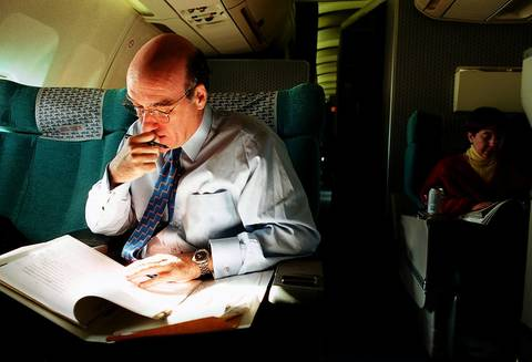 Commerce Secretary William Daley works during a business trip. He had come to endorse sampling for the 2000 census and felt the GOP and Democrats overestimated the effects of the technique.
