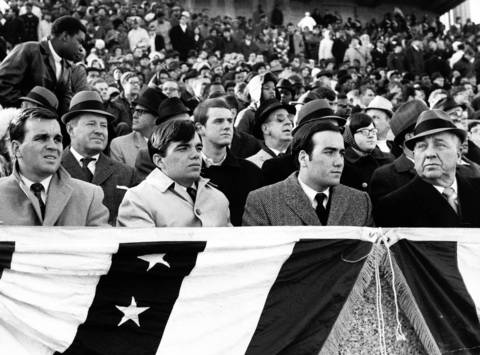 Richard M. Daley, John Daley, Bill Daley and Mayor Richard J. Daley attend the Prep Bowl in 1968.