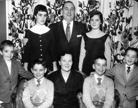 The Richard J. Daley family poses for a family photo Christmas Eve in 1954. From left to right: Front row - John, 8, Michael, 11, Eleanor, Richard, 12, and Bill, 6. Back row, standing, are Mary, 10, Richard J. Daley, Candidate for Mayor of Chicago and Eleanor, 14.