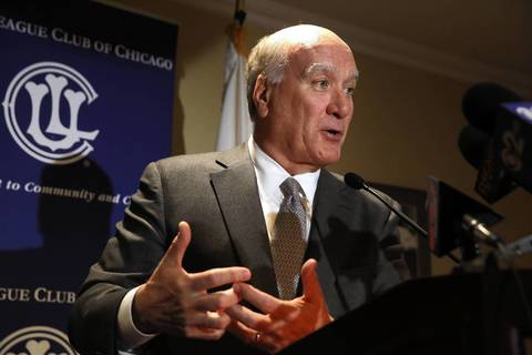 "Bill Daley, Democratic candidate for governor, speaks at a news conference in Chicago about pension reform. Daley abruptly ended his bid for the Democratic nomination for governor Monday, Sept. 16, 2013, saying a lifetime in politics had not prepared him for the ""enormity"" of his first run for office and the challenge of leading the state through difficult times."