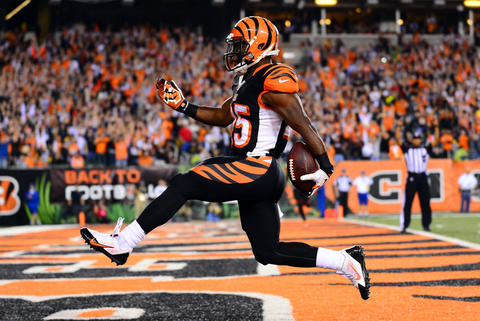 Sep 16, 2013; Cincinnati, OH, USA; Cincinnati Bengals running back Giovani Bernard (25) high steps into the end zone for a touchdown during the third quarter against the Pittsburgh Steelers at Paul Brown Stadium.