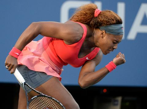 Sep 6, 2013; New York, NY, USA; Serena Williams (USA) reacts during her match against Li Na (CHN) on day twelve of the 2013 US Open at USTA Billie Jean King National Tennis Center.