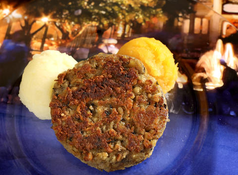 Vegetarian Haggis with Neeps and Tatties -- a Griddled Vegetable Cake with Rutabaga and Mashed Potatoes, from the new Scotland kiosk, featured in the upcoming 2013 edition of the Epcot International Food & Wine Festival, which runs Sept. 27 through November 11. Photographed Friday, August 23, 2013, in an exclusive Orlando Sentinel behind-the-scenes preview. (Joe Burbank/Orlando Sentinel) B583075881Z.1