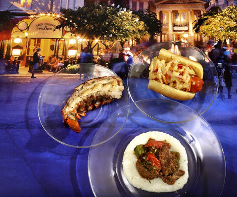 From top left: A Griddled Lobster Tail with Garlic Herb Butter, A 'Kimchi Dog' with Spicy Mustard Sauce and, Berbere-Style Beef with Onions, Jalape¿os, Tomato, Okra and Pap Grits ,all featured in the upcoming 2013 edition of the Epcot International Food & Wine Festival, which runs Sept. 27 through November 11. Photographed Friday, August 23, 2013, in an exclusive Orlando Sentinel behind-the-scenes preview. (Joe Burbank/Orlando Sentinel) B583075881Z.1