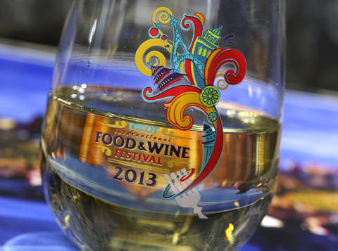 A classic white whine in a keepsake glass, featured in the upcoming 2013 edition of the Epcot International Food & Wine Festival, which runs Sept. 27 through November 11. Photographed Friday, August 23, 2013, in an exclusive Orlando Sentinel behind-the-scenes preview. (Joe Burbank/Orlando Sentinel) B583075881Z.1