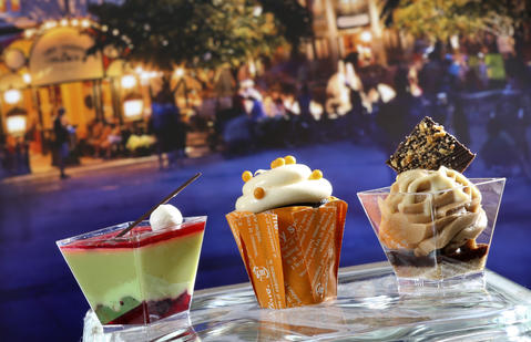 The Dessert Trio featuring (from left) Morello Cherry Pistachio Mousse, Chocolate Orange Cupcake and Hazelnut Chocolate Cheesecake;.some of the new food & beverage items featured in the upcoming 2013 edition of the Epcot International Food & Wine Festival, which runs Sept. 27 through November 11. Photographed Friday, August 23, 2013, in an exclusive Orlando Sentinel behind-the-scenes preview. (Joe Burbank/Orlando Sentinel) B583075881Z.1