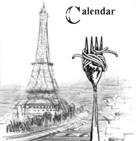 Behind The Scenes -- From Prototype to Production, the 2013 Epcot Food & Wine Photo-shoot -- For the Orlando Sentinel's Calendar section cover photo, a brainstorming session with Team Disney brings me to a point where I generated this rough prototype of what I was thinking to shoot at Epcot's France pavilion. The sketches are clip art I threw together to illustrate the concept of food and wine in front of a French-horizon scene. (Joe Burbank/Orlando Sentinel)
