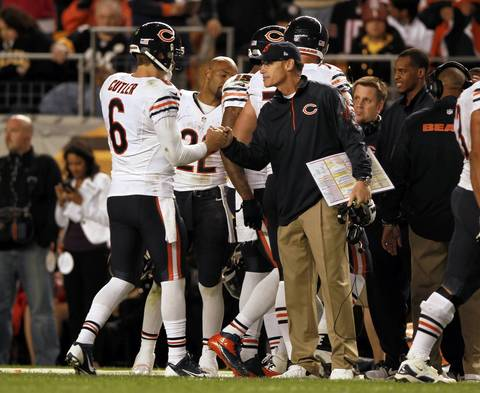 Jay Cutler and coach Marc Trestman congratulate each other during the final minutes.