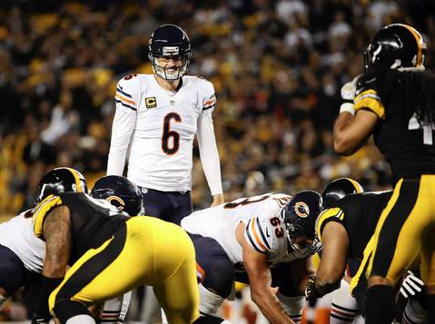 Jay Cutler laughs after his hard count failed to get the Steelers to jump offsides in the third quarter.