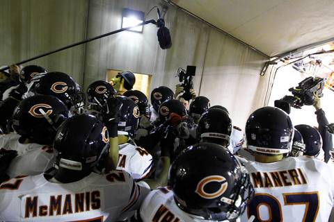 The Chicago Bears huddle in the tunnel before the game against the Pittsburgh Steelers at Heinz Field.