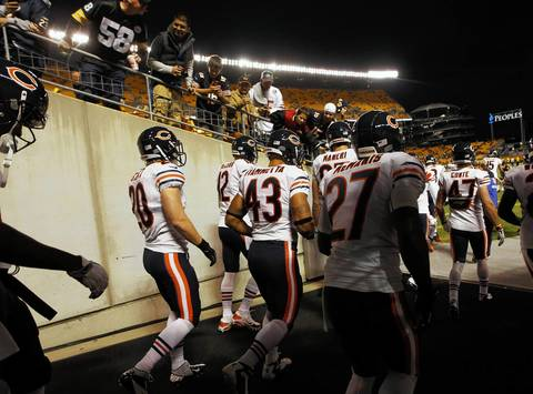 The Chicago Bears take the field in Pittsburgh.