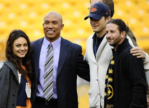Actress Mila Kunis, Steelers legend Hines Ward and actor Ashton Kutcher meet before the game.