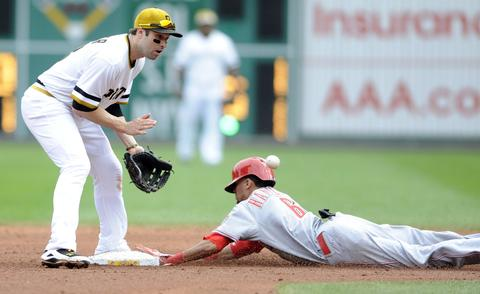 Cincinnati Reds' Billy Hamilton (R) steals second base against the Pittsburgh Pirates while second baseman Neil Walker awaits the throw in the sixth inning of their National League MLB baseball game in Pittsburgh, Pennsylvania September 22, 2013.