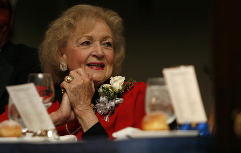 Guest of honor Betty White, thanked Williamsburg for knowing how to spoil an old broad at the All about the Animals gala at the Williamsburg Lodge, Oct. 16, 2010.