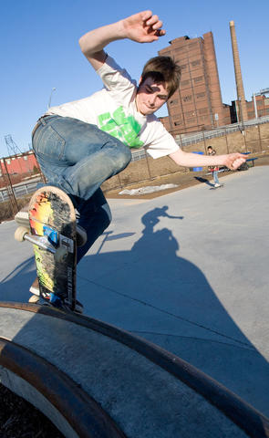 Gabriel Chandler (15), of Bethlehem rides the rails at Bethlehem's Skate Park, on a beautiful sunny Wednesday afternoon.