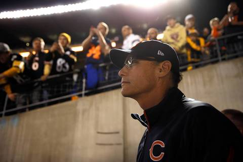 Chicago Bears' head coach Marc Trestman waits to take the field with team for pregame warm up before playing Pittsburgh Steelers during NFL game at Heinz Field in Pittsburgh.