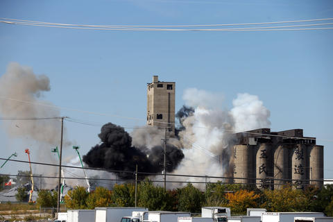 "An explosion on Damen just north of the Stevenson Expressway for filming of the movie ""Transformers: Age of Extinction."""