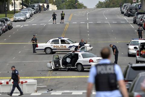 "A police cruiser is wrecked after shots fired were reported near 2nd Street NW and Constitution Avenue on Capitol Hill in Washington, DC, on October 3, 2013. The US Capitol was placed on security lockdown Thursday after shots were fired outside the complex, senators said. ""Shots fired outside the Capitol. We are in temporary lock down,"" Senator Claire McCaskill said on Twitter. Police were seen running within the Capitol building and outside as vehicles swarmed to the scene."
