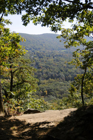 At St. Johns Ledges the trees open up and offer a view across the Housatonic River Valley in Kent.