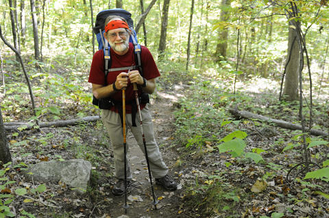 David Guenther, from Midland, Michigan, is finishing up a hike he started years ago, walking the length of the Appalachian Trail.