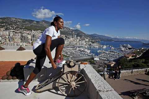 "Three-time sprint Olympic champion Marie-Jose Perec of France stretches in Monaco October 5, 2013. Perec is training ahead of the New York marathon on November 3, 2013, her first race in more than ten years. The 45-year-old will run for ""Peace&Sport"" charity involved in projects for Haiti 2010 earthquake survivors. Picture taken October 5, 2013."
