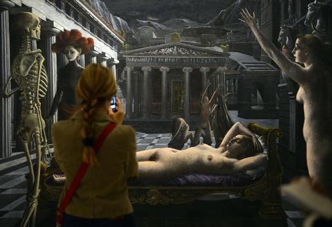 "A woman looks at the painting ""La Venus endormie"" by Paul Delvaux during the exhibition entitled ""Surrealism and the Dream"" at the Thyssen-Bornemisza museum in Madrid, on October 7, 2013."