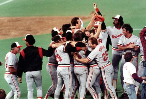 The Orioles celebrate their clinching victory at Veterans Stadium in Philadelphia.