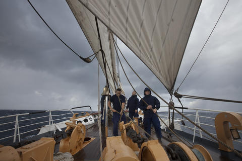 The Coast Guard Barque Eagle battles strong winds and surf on Tuesday afternoon.