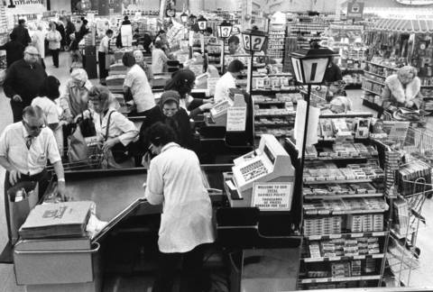 Check-out counters at Dominick's at 115th and Western Avenue.
