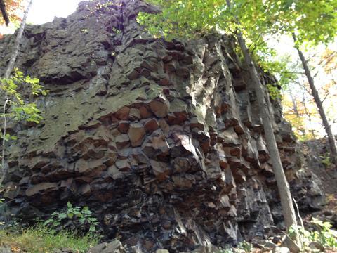 A huge traprock boulder.