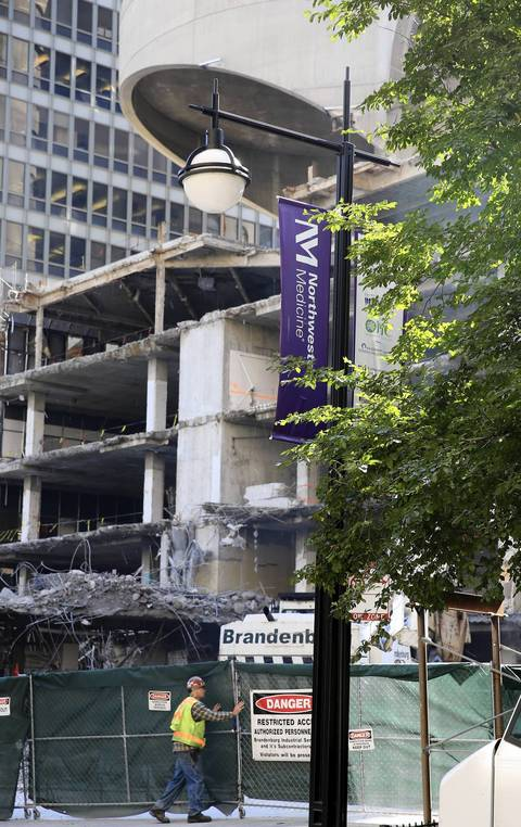 Demolition begins on the former Prentice Women's Hospital at 250 E. Superior in Chicago on Oct. 11.