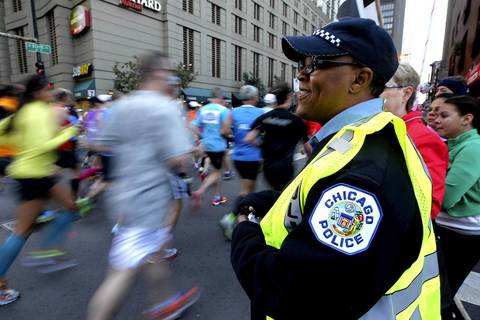 Chicago Police are out in full force on the streets of Chicago for the Chicago Marathon.