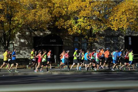 Runners make their way along the Bank of America Chicago Marathon.