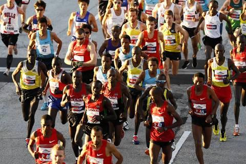 Elite runners begin the Bank of America Chicago Marathon.