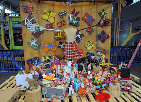 "Toys and other materials are recycled in the ""Holiday Springs and Sockets"" exhibit."