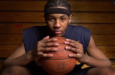 Carmelo Anthony of Towson Catholic poses during an All-City/County photo shoot.