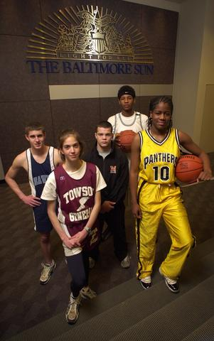 The All-Metro Athletes of the year, (L to R) Shane Stroup, Cori Koch, Ryan Davis, Carmelo Anthony and LaTonya Blue, pose at The Baltimore Sun offices.