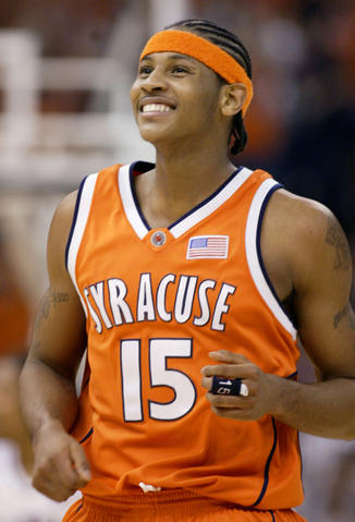 Carmelo Anthony smiles during the NCAA title game in 2003, which his Syracuse team won over Kansas.