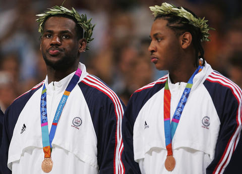LeBron James and Carmelo Anthony receive their bronze medals at the 2004 Olympics in Athens.