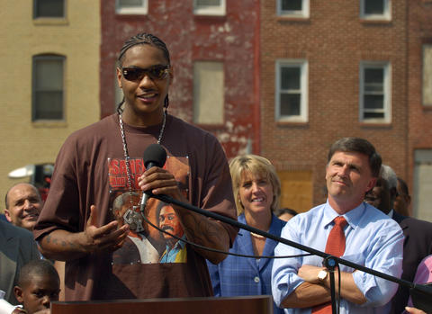 "Carmelo Anthony apears with Maryland Gov. Robert Ehrlich and First Lady Kendel Ehrlich in 2005 to announce the ""Hype vs. Reality"" project, a joint effort with Johns Hopkins hospital to define violence as the next major public health crisis."