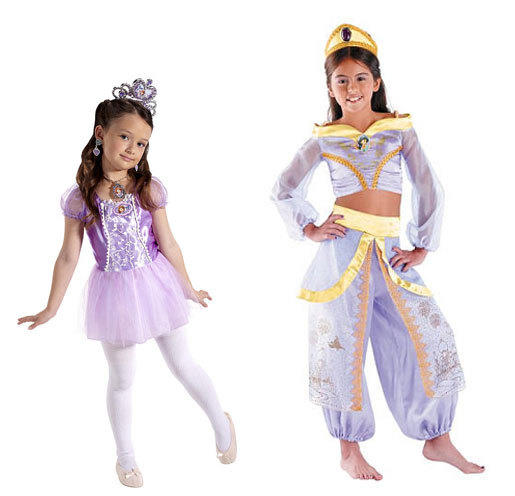 Disney princesses reign for girls this Halloween: Sofia the First, left, is big for toddlers, along with Disney Princess Ballerina costumes. Princess Jasmine on the right is part of the Disney Princess Storybook Prestige series popular amongst older girls, as are costumes from the Disney Princess Sparkle set.
