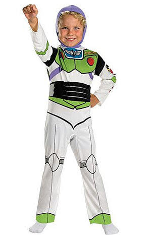 Buzz Lightyear, pictured here, and Woody from Toy Story 3 are popular costume choices for boys this Halloween.