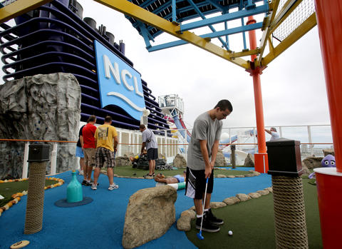 Mini golf on the new Norwegian Cruise Lines ship Breakaway, making its first docking at Port Canaveral, Tuesday, October 15, 2013. (Joe Burbank/Orlando Sentinel) B583258058Z.1
