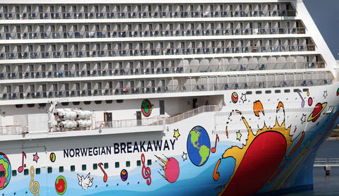 The new Norwegian Cruise Lines ship Breakaway, making its first docking at Port Canaveral, Tuesday, October 15, 2013. (Joe Burbank/Orlando Sentinel) B583258058Z.1