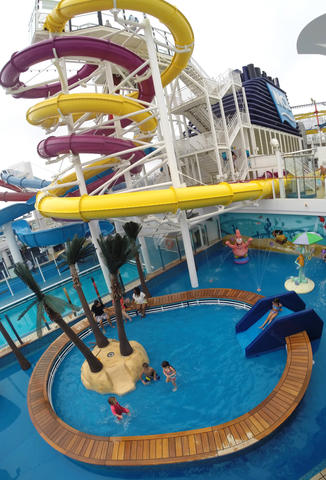 The kids pool on Deck 15 on the new Norwegian Cruise Lines ship Breakaway, making its first docking at Port Canaveral, Tuesday, October 15, 2013. (Joe Burbank/Orlando Sentinel) B583258058Z.1
